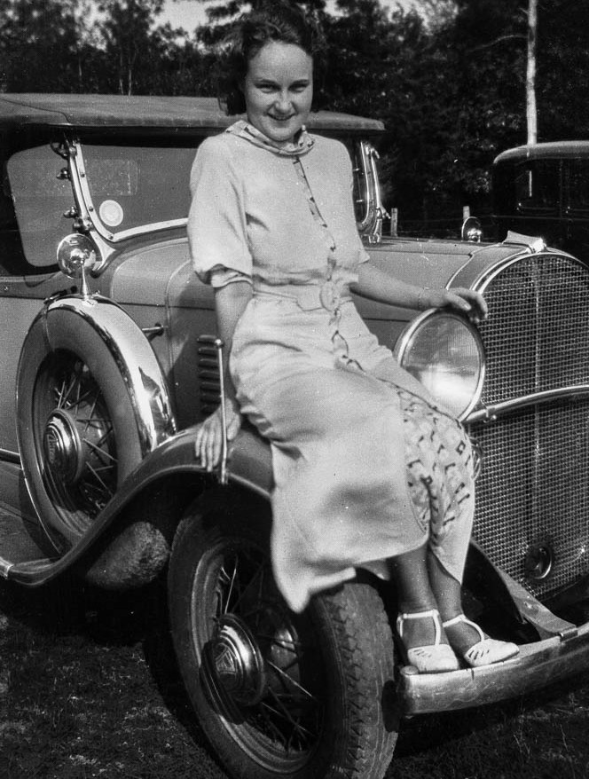 Juanita perches on Willy's Sport Coupe 6